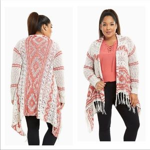 Torrid Aztec Fringe Knitted Cardigan